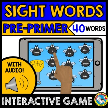 SIGHT WORDS GAME (AUDIO DIGITAL TASK CARDS) DOLCH PRE-PRIMER WORDS BOOM CARDS