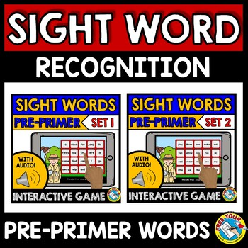 BOOM CARDS SIGHT WORDS BUNDLE (DOLCH PRE-PRIMER SIGHT WORDS SPECIAL EDUCATION)