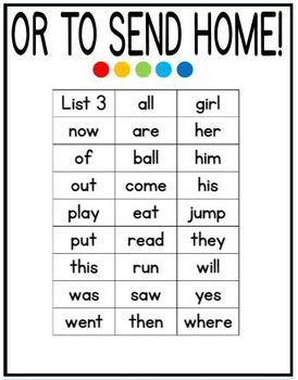 Fountas and Pinnel SIGHT WORD LISTS to use as flashcards