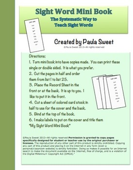 SIGHT WORD MINI BOOK~The Systematic Way to Teach Sight Words