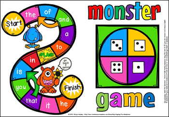 SIGHT WORD MONSTER GAME(FREE- FEEDBACK CHALLENGE)