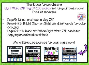 SIGHT WORD RECOGNITION ZAP CENTER GAME - FRY 5TH 100 WORDS