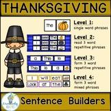 SIGHT WORD SENTENCE BUILDERS-Thanksgiving (K-2/SPED/ELL)