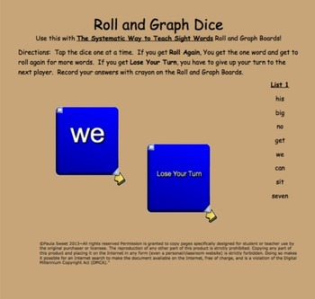 SIGHT WORD INTERACTIVE DICE~The Systematic Way to Teach Sight Words