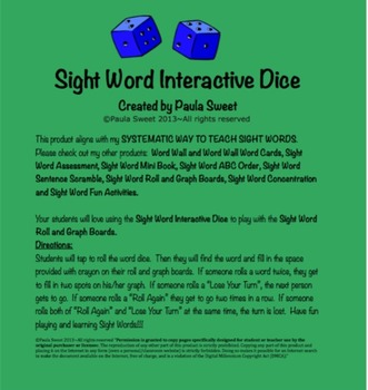 SIGHT WORD INTERACTIVE DICE~The Systematic Way to Teach Si