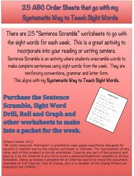 SIGHT WORD SENTENCE SCRAMBLE~The Systematic Way to Teach Sight Words