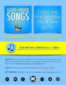 SIGHT WORD SONGS • Vol 1: Songs & Expansion Pack of Activities (No-Prep)