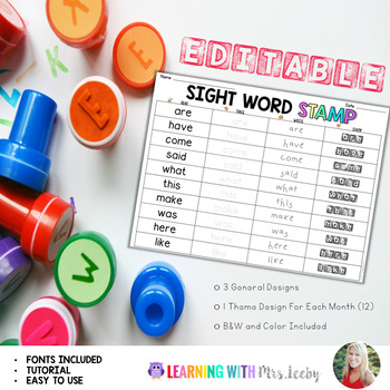 EDITABLE SIGHT WORD STAMP