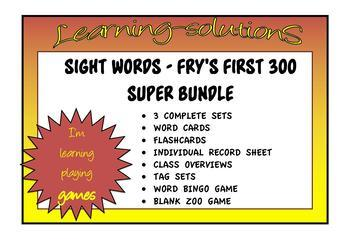 SIGHT WORD SUPER BUNDLE - First 300 of FRY'S SIGHT WORDS - Complete
