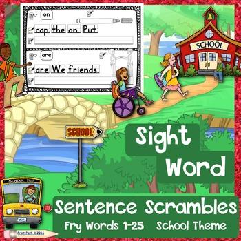 SIGHT WORD Sentence Scrambles: Fry Words 1-25, Handwriting Practice