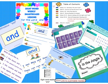 SIGHT WORD WEEKLY SmartBoard LESSON & PRINTABLE READER, Focus Word: and