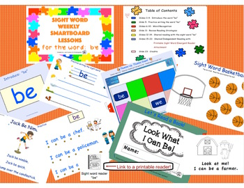 SIGHT WORD WEEKLY SmartBoard LESSON & PRINTABLE READER, Focus Word: be