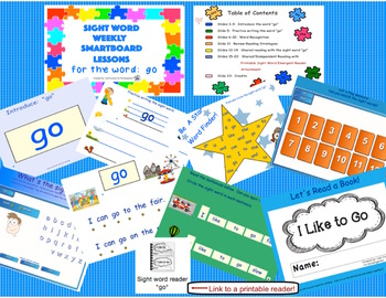 SIGHT WORD WEEKLY SmartBoard LESSON & PRINTABLE READER, Focus Word: go