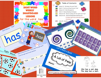 SIGHT WORD WEEKLY SmartBoard LESSON & PRINTABLE READER, Focus Word: has