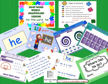SIGHT WORD WEEKLY SmartBoard LESSON & PRINTABLE READER, Focus Word: he