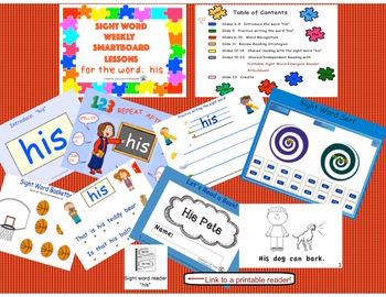 SIGHT WORD WEEKLY SmartBoard LESSON & PRINTABLE READER, Focus Word: his