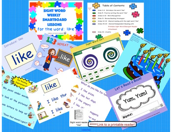 SIGHT WORD WEEKLY SmartBoard LESSON & PRINTABLE READER, Focus Word: like