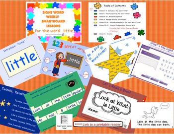 SIGHT WORD WEEKLY SmartBoard LESSON & PRINTABLE READER, Focus Word: little