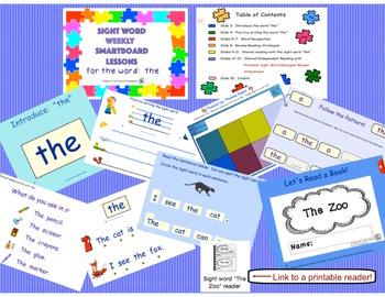 SIGHT WORD WEEKLY SmartBoard LESSON & PRINTABLE READER, Focus Word: the