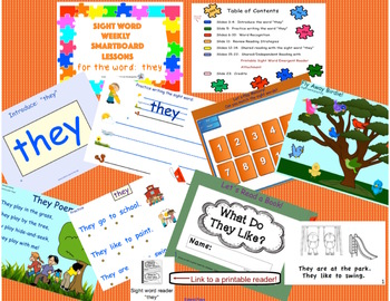 SIGHT WORD WEEKLY SmartBoard LESSON & PRINTABLE READER, Focus Word: they