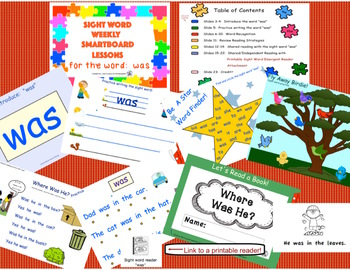 SIGHT WORD WEEKLY SmartBoard LESSON & PRINTABLE READER, Focus Word: was