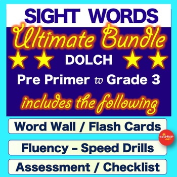 Sight Words BUNDLE - Dolch  - Word Cards, Fluency Cards, Assessment NO PREP