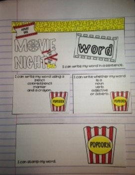EDITABLE Sight Word Practice Interactive Journal- Movie Theme