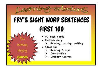 SIGHT WORDS - FRY'S FIRST 100 - 50 Sentence Task Cards