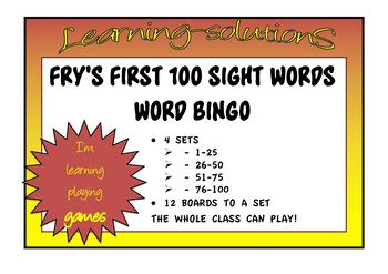 SIGHT WORDS - FRY'S FIRST 100 WORDS - Bingo Games - 4 sets of 25 words