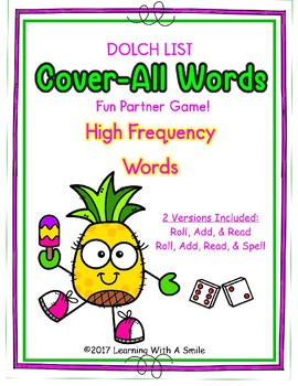SIGHT WORDS Game (Dolch Words)  COVER-ALL WORDS Partner Game