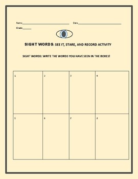 SIGHT WORDS &  HIGH FREQUENCY WORDS MEMORY ACTIVITY