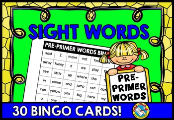 SIGHT WORDS PRACTICE: SIGHT WORDS GAME: SIGHT WORDS BINGO