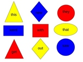 SIGHT WORDS, PRIMARY COLORS AND SHAPES