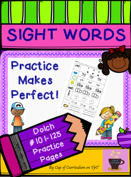 SIGHT WORDS Practice Dolch 101-125