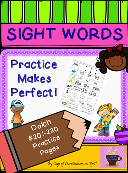 SIGHT WORDS Practice Dolch 201-220