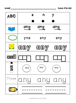 SIGHT WORDS Practice Dolch 76-100