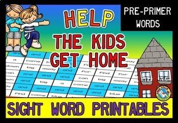 SIGHT WORDS RECOGNITION PRINTABLES BUNDLE:COLOR THE PATH(DOLCH PRE-PRIMER WORDS)