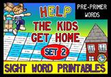 PRE PRIMER SIGHT WORDS WORKSHEETS (RECOGNITION PRINTABLES) MAZE TEMPLATE