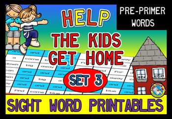 PRE PRIMER SIGHT WORDS WORKSHEETS (RECOGNITION PRINTABLES) MAZE TEMPLATE