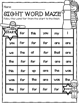 SIGHT WORDS Spot it and Dot it MAZE