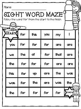SIGHT WORDS Spot it and Dot it MAZE