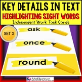 """SIGHT WORDS Task Cards KEY DETAILS WITHIN TEXT """"Task Box Filler""""  Autism SET 3"""