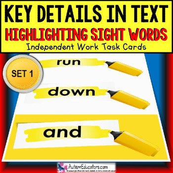 SIGHT WORDS Task Cards KEY DETAILS WITHIN TEXT for Autism SET # 1