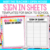 SIGN IN SHEETS FOR MEET THE TEACHER EDITABLE