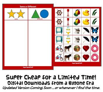 SAME & DIFFERENT SoRt w/ 30 PECS Cards : instant digital download speech autism