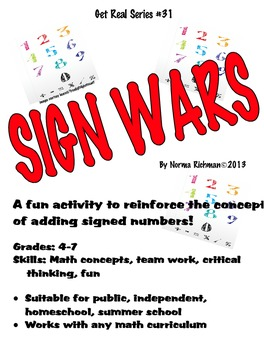 SIGN WARS! FUN WAY TO TEACH ADDING SIGNED NUMBERS. COMMON CORE MATH GAME!