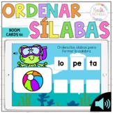 ORDENAR SILABAS_BOOM CARDS, Palabras de tres sílabas, Spanish Syllables