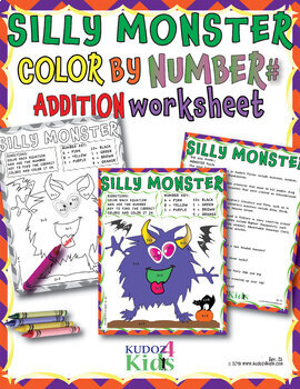SILLY MONSTER  Color by Number Addition 1-10