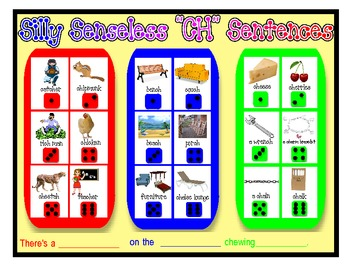 "SILLY SENSELESS ""CH"" SENTENCES- A BINGO DICE GAME for ""CH"" Articulation Practice"