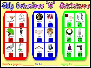 "SILLY SENSELESS ""G"" SENTENCES- A BINGO DICE GAME for ""G"" articulation practice"